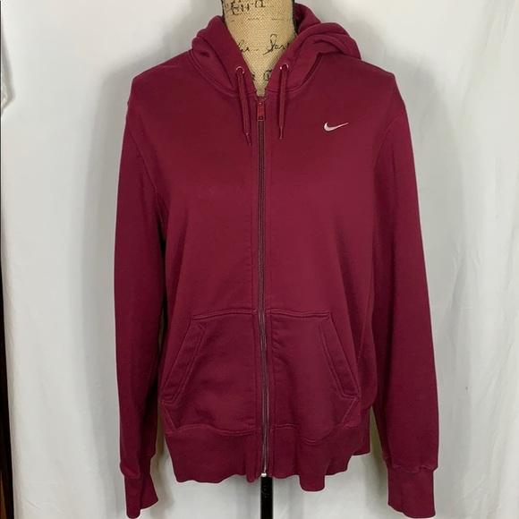 Nike Large Wine Colored Full Zip Hoodie